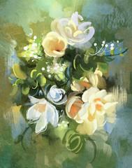 Fototapetadigital painting of colorful abstract flowers,illustration