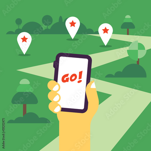 Photo  Hand holding mobile phone flat illustration