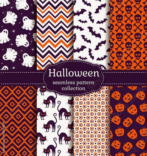 Materiał do szycia Halloween bez szwu wzorów. Wektor zestaw.