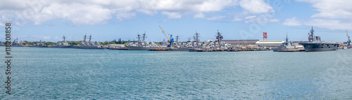 Photo  United States naval ships in Pearl Harbor  USA