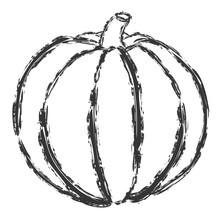 Vector Hand Drawn Brush Line Black Pumpkin On White Background