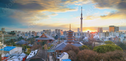 Canvas Prints Japan View of Tokyo skyline at twilight
