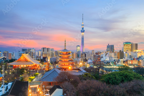 Photo  View of Tokyo skyline at twilight