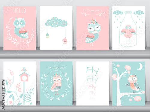 Photo Stands Owls cartoon Set of cute animals poster,template,cards,owls,boho,Vector illustrations