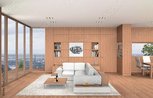 Wohnzimmer Und Esszimmer In Moderner Innenarchitektur Mit