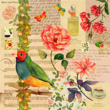 Vector Vintage Style Collage Background With Bird And Old Ephemera