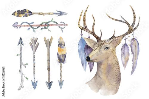Printed kitchen splashbacks Watercolor skull Watercolor hand drawn arrows set with deer. ethnic native american