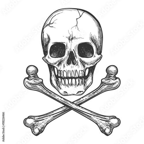 Photo  Skull and crossbones for tattoo or biker jacket vector illustration