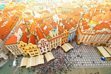 Prague. Old Town. View On Many Tourists Seen From City Hall.