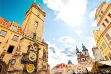 Prague. Old Town Hall With Orloj Astronomical Clock And Tyn Church.