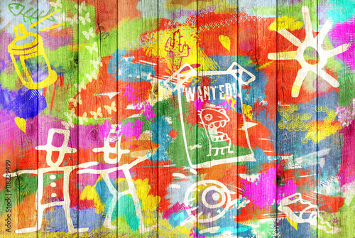 Foto op Aluminium Graffiti Color Graffiti Wall Background