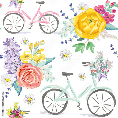 Cotton fabric Pink and mint bicycles with bouquets of flowers on the white background. Cute illustration. Vector seamless pattern. Pastel colors. Rose, daisy, lilac, lavender, ranunculus.