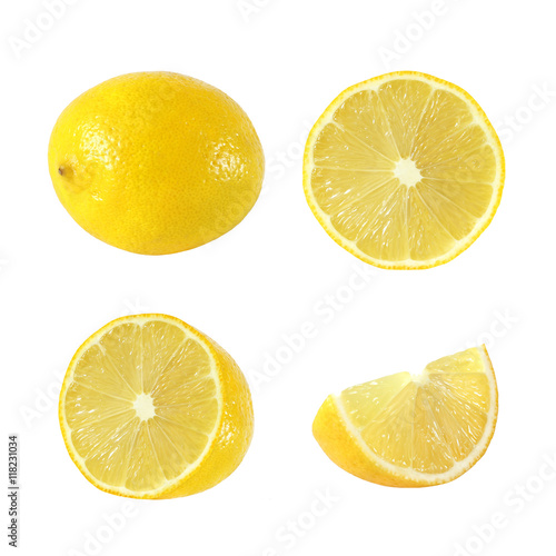 Valokuvatapetti Collection of whole and cut lemon fruits isolated on white backg