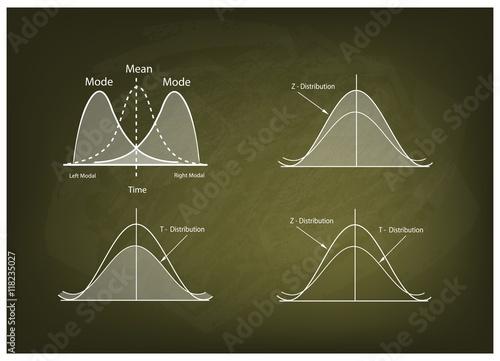 Fototapeta Collection of Positve and Negative Distribution Curve on Chalkboard obraz na płótnie
