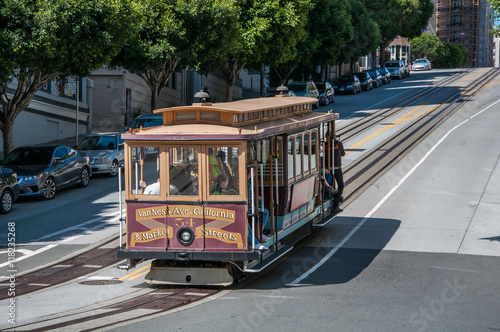 San Francisco, California, USA - APRIL 24, 2016: Cable car at California street, documentary editorial.
