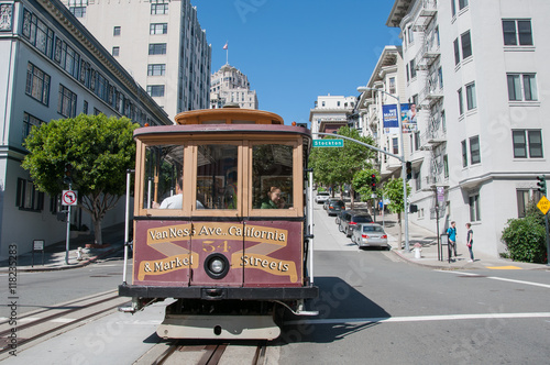 Keuken foto achterwand San Francisco San Francisco, California, USA - APRIL 24, 2016: Cable car at California street, documentary editorial.