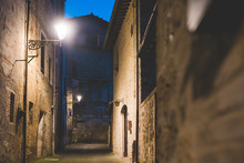Streetlamps And Alley At Dusk, Colle Di Val D'Elsa, Siena, Italy