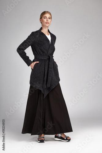 5db562ecbdfa Beautiful sexy woman blonde long hair wear black silk dress - Buy ...