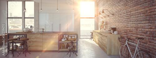 Fototapeta Modern Design Luxurious Kitchen Interior. 3d rendering obraz