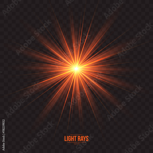 Fotografie, Obraz  Abstract gleaming light rays vector background