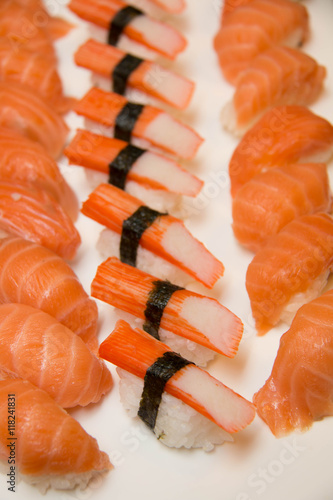 Sushi rolls on a white plate. - 118241831
