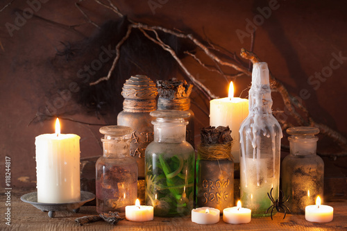 Plakát witch apothecary jars magic potions halloween decoration