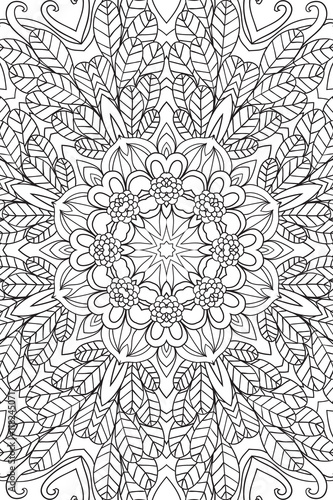 Mandala background. Ethnic decorative elements. Hand drawn . Coloringg book for adults.