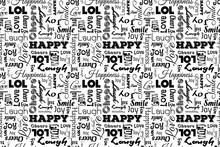 Seamless Pattern With Words: Happy, Joy, Laugh, Smile, Happiness, Lol, Love, Fun, Cheers. Vector. Transparent Background.