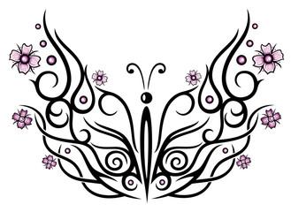 Fototapeta Motyle Großer Schmetterling mit Kirschblüten im Tribal Style.