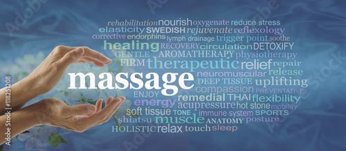 Slika na platnu Blue massage word cloud - Female hands gently cupped around the word MASSAGE sur