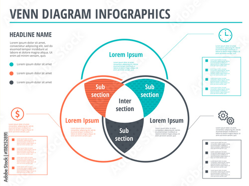 Canvas Venn diagram circles infographics template design