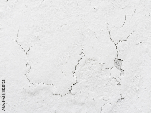 Cracked White Concrete Cement Wall Texture Background