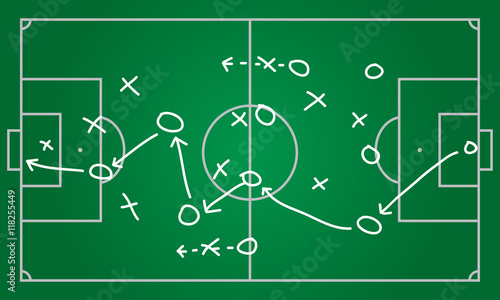 Soccer Or Football Plan Template Realistic Blackboard Drawing Game - Game plan template