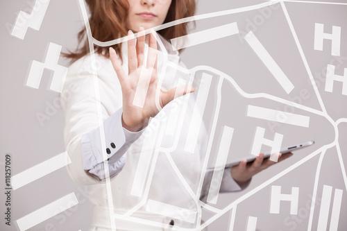 Fotografía  Future technology, navigation, location concept