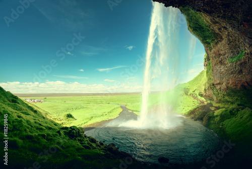 Foto op Canvas Watervallen Seljalandfoss waterfall, Iceland