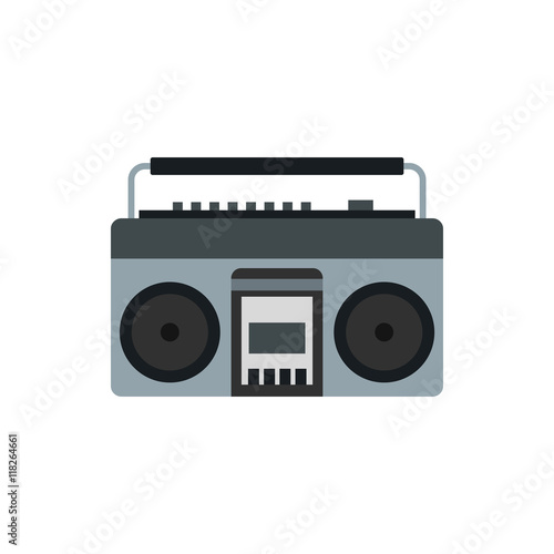 Fotografia  Boom box or radio cassette tape player icon in flat style on a white background
