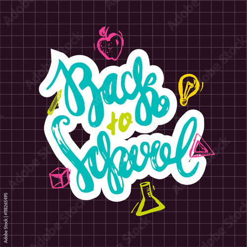 Back to School lettering hand drawn design  Colorful Label