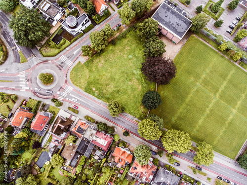 Valokuva  Aerial view of Dutch town, builidings, park, roundabout