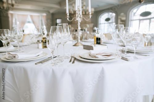 Elegant Wedding Reception White Table Arrangement Restaurant