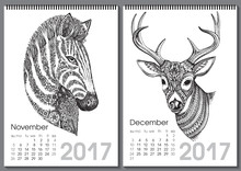 Calendar 2017. Beautiful Ornate Hand Drawn Animals
