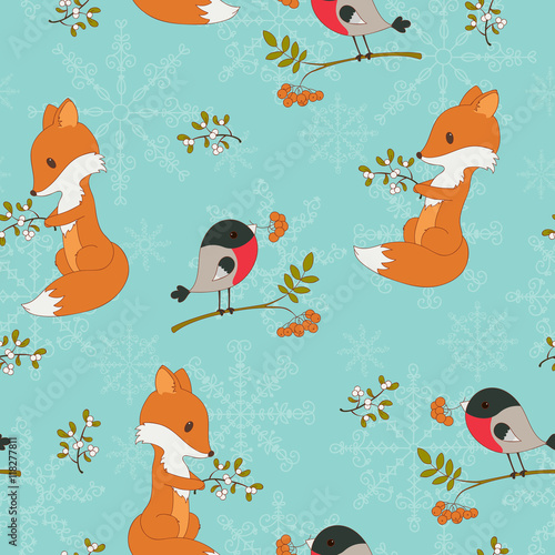 Cotton fabric Winter cartoon forest animals seamless background