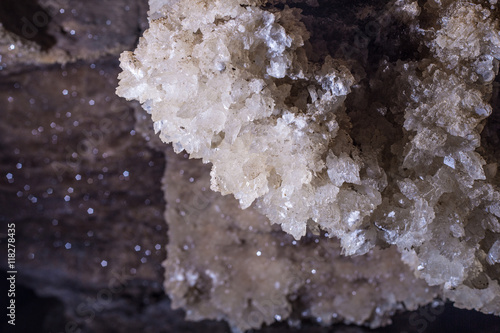 Photo gypsum crystals in the Mlynky cave, Ukraine
