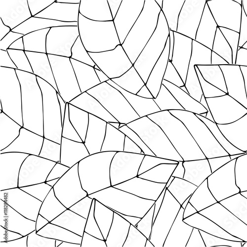 Seamless Botanical pattern. White large leaves.