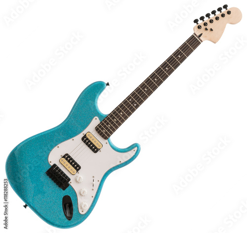 Blue Electric Guitar Isolated on White Background Poster