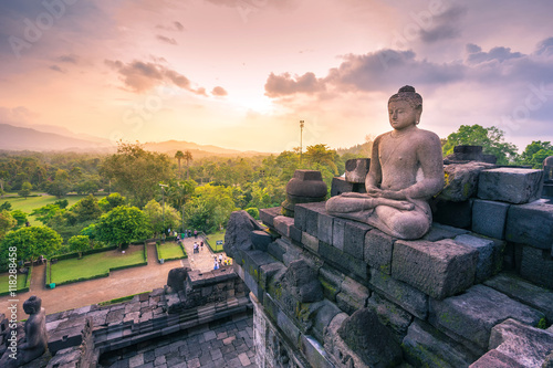 Fotobehang Boeddha Buddha statue in Borobudur, Buddist Temple in Yogyakarta, Indone