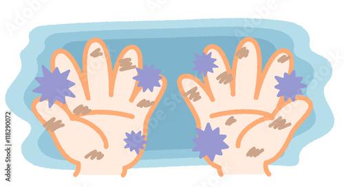 雑菌などで汚れた手 イラスト素材 白背景 手洗い風邪予防 Adobe