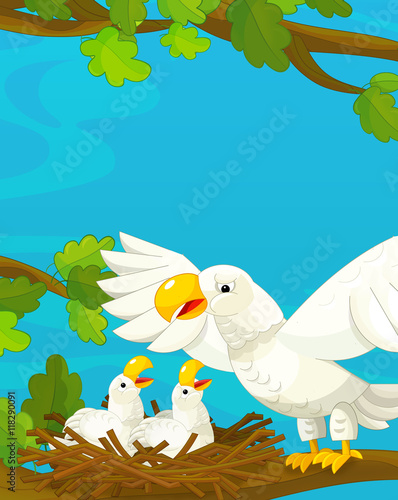 Deurstickers Dinosaurs Cartoon happy and funny nature scene - with eagles - illustration for children