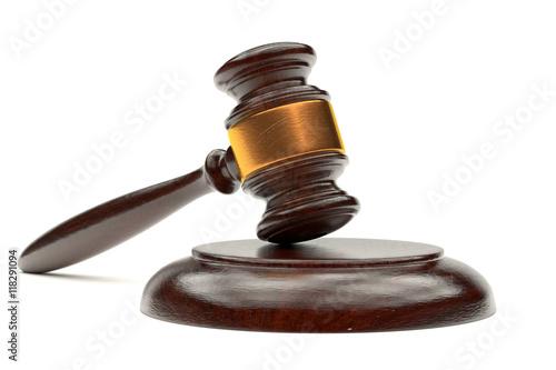 3d illustration judges gavel on a stand