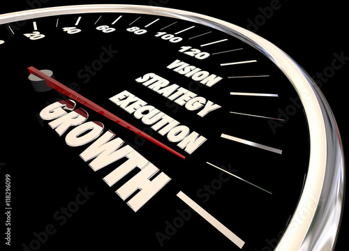 Photo Growth Vision Strategy Execution Speedometer 3d Animation