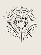 Sacred Heart Of Jesus, Illustration Art Vector Design